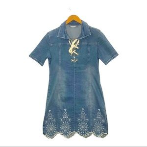 Desigual Blue Embroidered Denim Mini Dress size 38